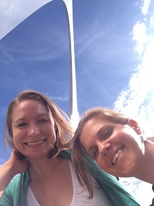 Aimee Verrall and Alexandra Terrill with the St. Louis Arch in the background.