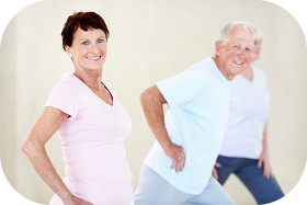 Older adults doing yoga stretching and positions